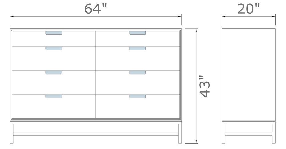 """Forde Wideboy Dresser - 8 Drawer   43"""" high x 64"""" wide x 20  """" deep  $2,590.00 - $2,690.00"""