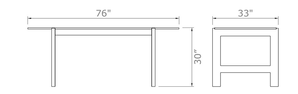 "57st. Farmer Table - 6-Seat Narrow   30"" high x 76"" wide x 33"" deep | Table Top: 31"" deep  $1,690.00 - $1,790.00"