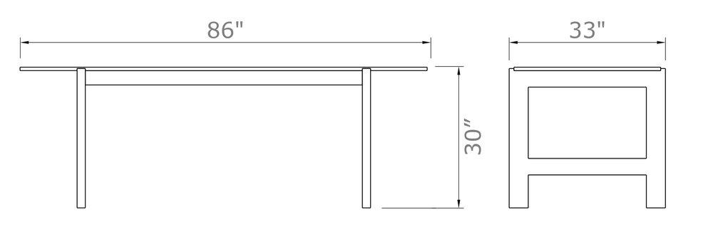 "57st. Farmer Table - 8-Seat Narrow   30"" high x 86"" wide x 33"" deep | Table Top: 31"" deep  $1,790.00 - $1,890.00"
