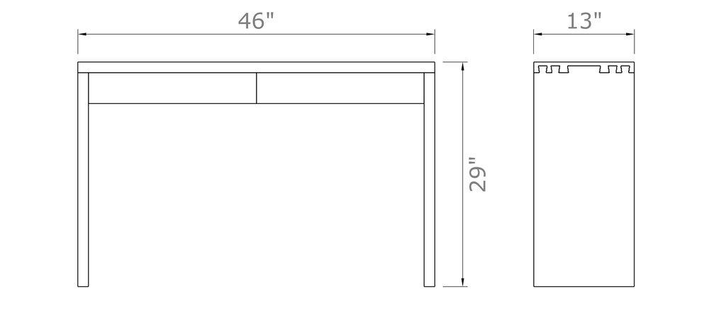 "Simone Entryway Table   29"" high x 46  "" wide x 13"" deep  $1,000.00 - $1,100.00"