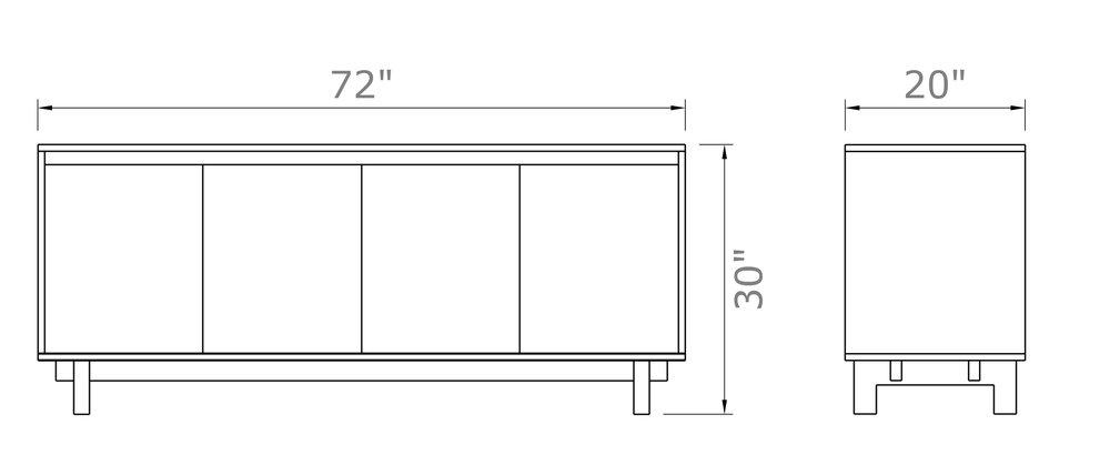 """Ada Sideboard With Doors - Low 30"""" high x 72"""" wide x 20"""" deep $1,990.00 - $2,090.00"""