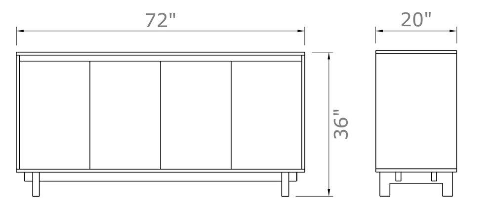 """Ada Sideboard With Doors - Tall 36"""" high x 72"""" wide x 20"""" deep $2,190.00 - $2,290.00"""