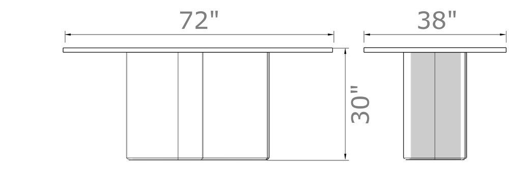 "Kedzie Dining Table - 6 Seat   30"" high x 72"" wide x 38"" deep"