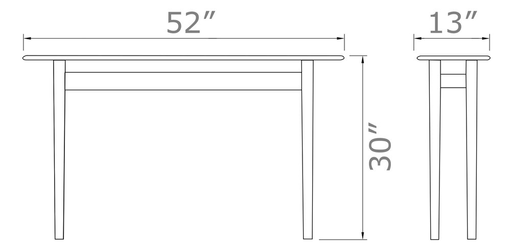 "Ionia Sofa Table   30"" high x 52  "" wide x 13"" deep"