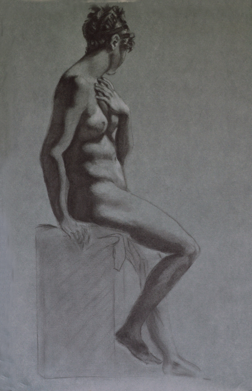 Prud'hon Master Copy, Charcoal and White Chalk, Jadyne Reichner