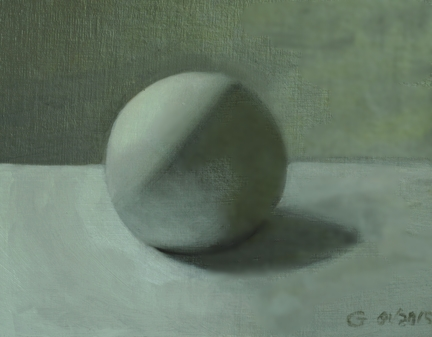 Monochromatic Sphere, Oil on Linen Panel, Gary Vihenen