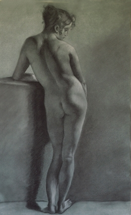 Prud'hon Master Copy, Charcoal and White Chalk, Martha Rudersdorf