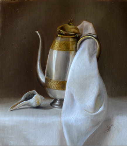 "The Chocolate Pot, 12"" x 9"", Oil on Linen Panel"