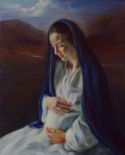 "Madonna in Moonlight, 20"" x 16"", Oil on Linen Panel"