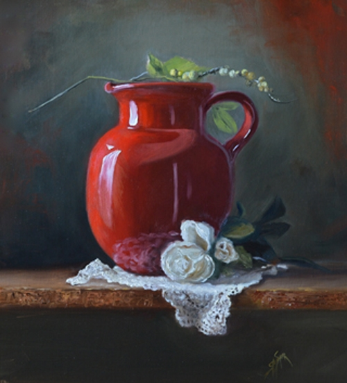 The Cherry Red Pitcher, 12 x 9, Oil on Linen Panel