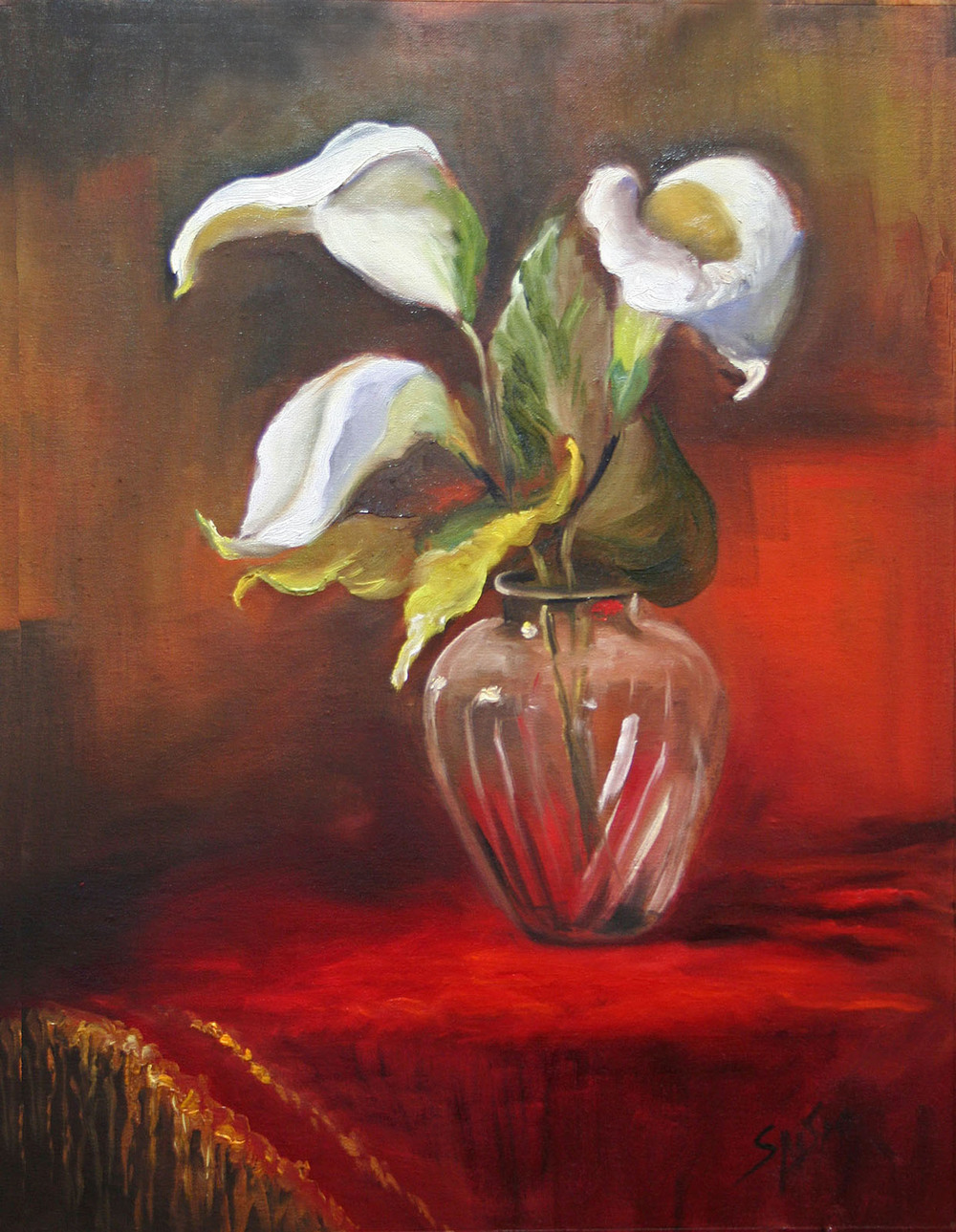 "Lilly's in Cut Glass, 12"" x 9"", Oil on Panel"
