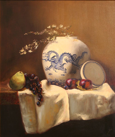 "The Dragon Jar, 35"" x 30"", Oil on Panel"