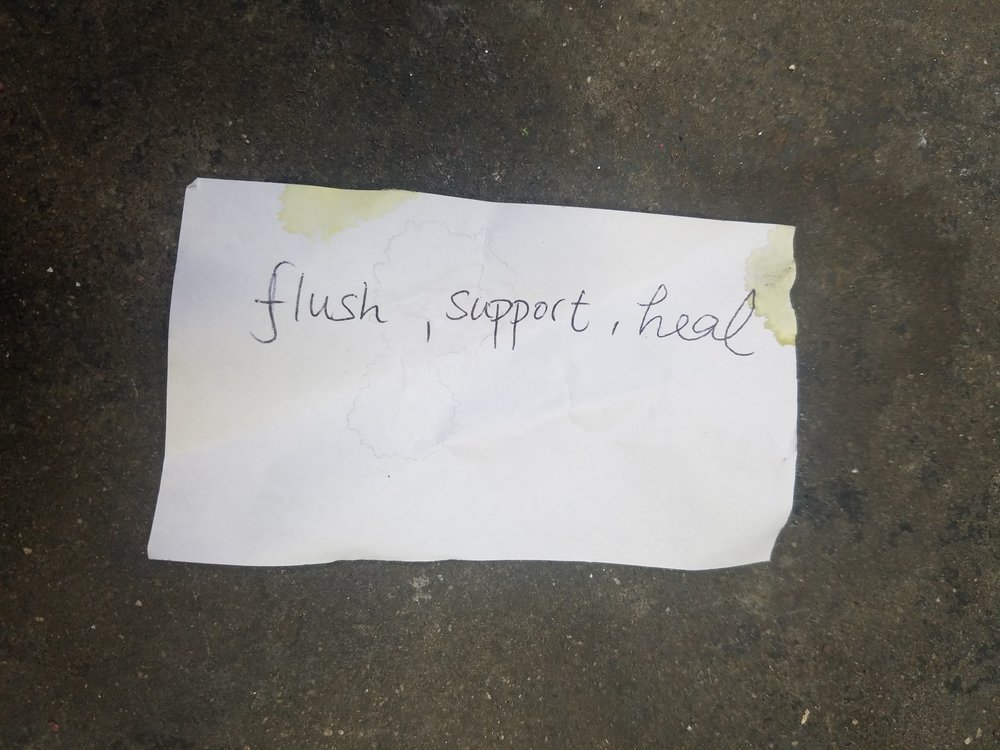 On the night of the performance and an hour before the live event, the three performers were asked to write down each one word that came to their mind. This is how the words flush, support and heal became part of the performance score.