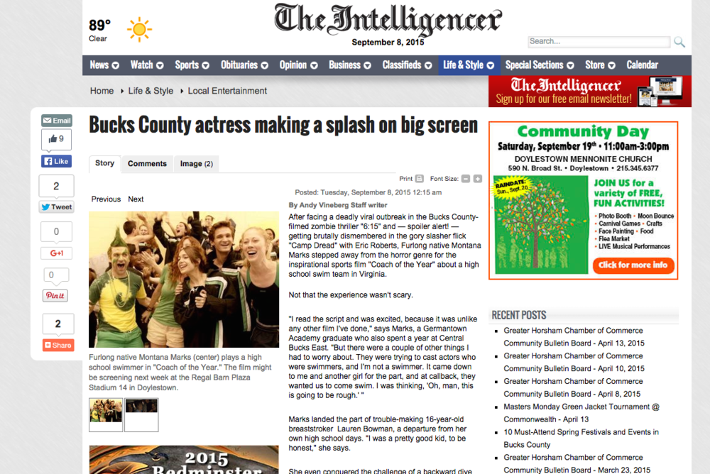 The Intelligencer Article - Coach of the Year & 6:15  Check out the  latest newspaper article  in The Intelligencer! It's my hometown newspaper back in Pennsylvania. It talks about the latest details on a few films being released soon!
