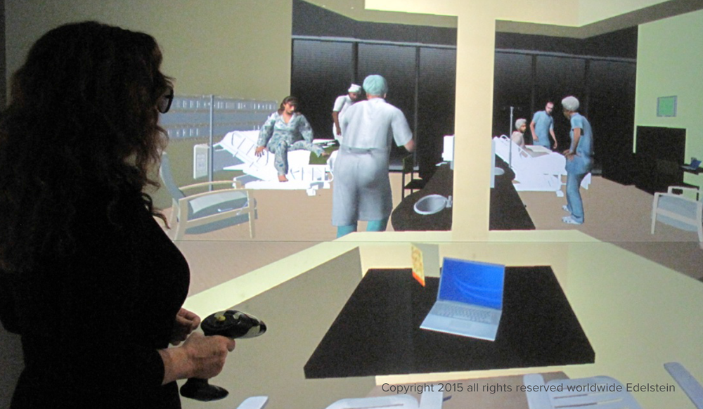 Immersive sound and visual simulation of hospital setting in the StarCAVE at UCSD.