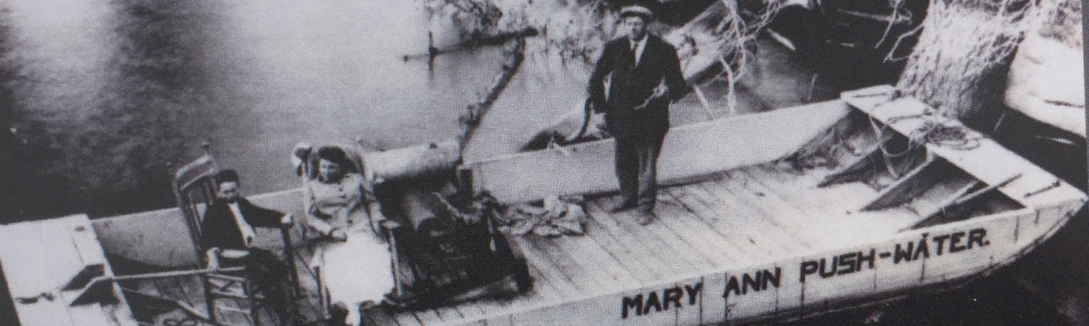 The Mary Anne Push-Water Barge ferried passengers and baggage to and from the Southwest Shore Colony before road access arrived in 1925