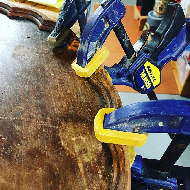 Fixin. #fixit #broken #furniture #repair #glue #clamp #repurposed #diy #upcycle #antique #new #life #sunday #sundayfunday #work