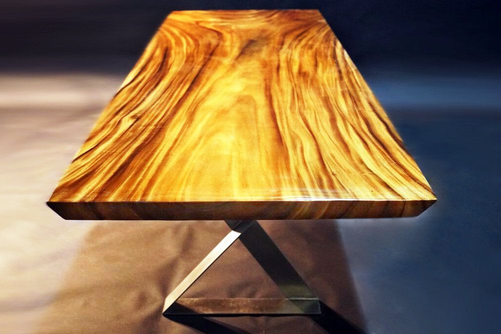 "Golden acacia slab table with beveled edges  118"" x 39.5"" x 2.5""  Available in 2k gloss or matte  More sizes in a similar style available"