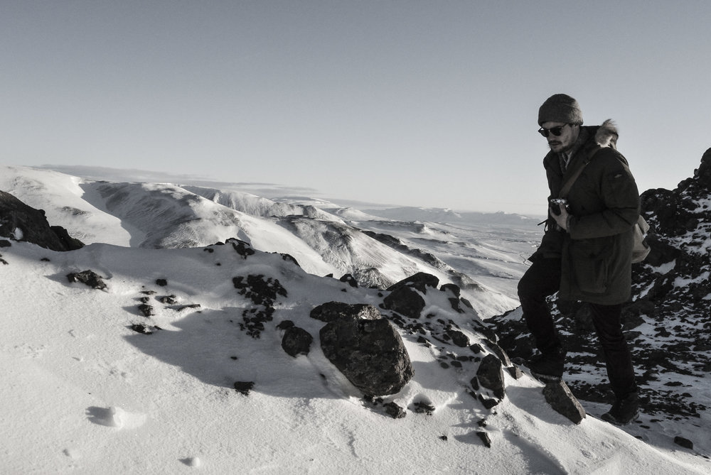 Cal Irvine hikes up Spákonufell in Skagaströnd, Iceland in March, 2016. (Megan Perra)
