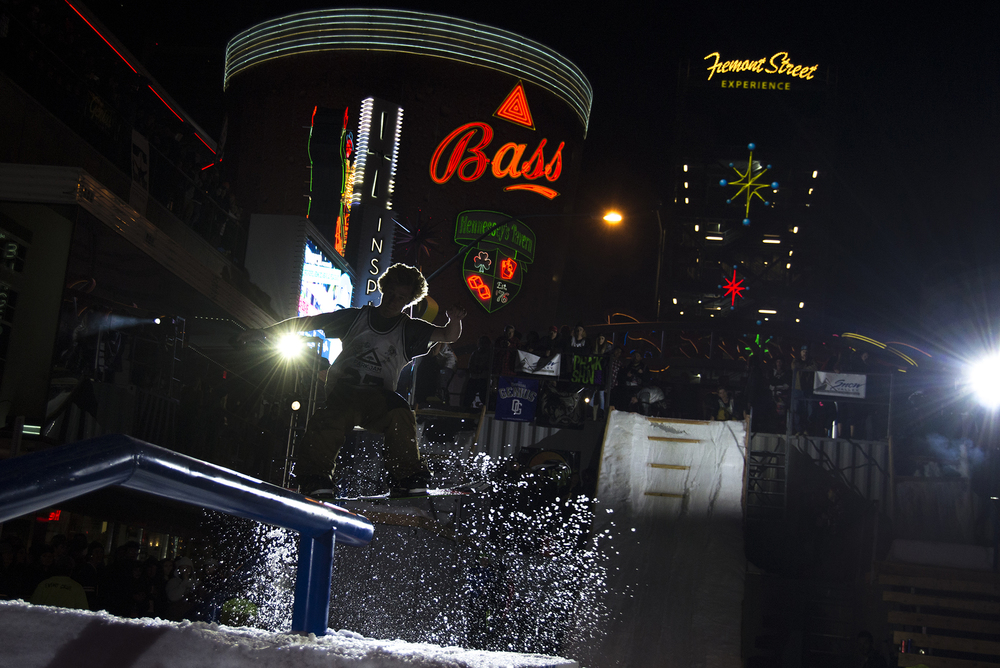Powder replaces asphalt on Fremont Street in Downtown Las Vegas as professional snowboarders compete during Park Jam on Fremont 2016.