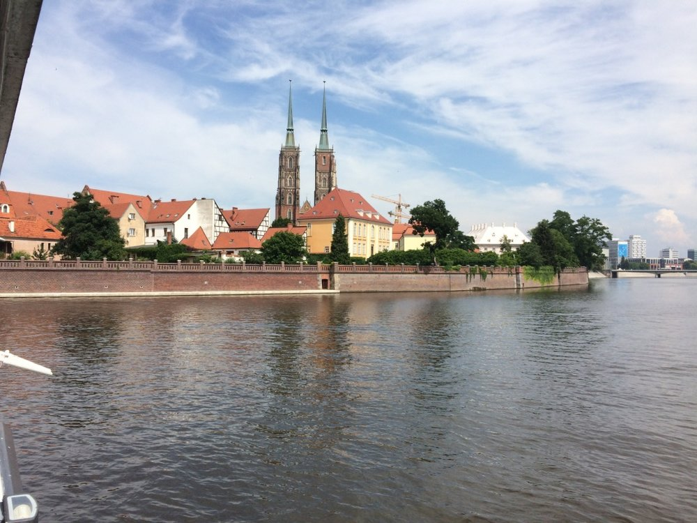 Wroclaw, Poland - view of the oldest part of city from the Oder river