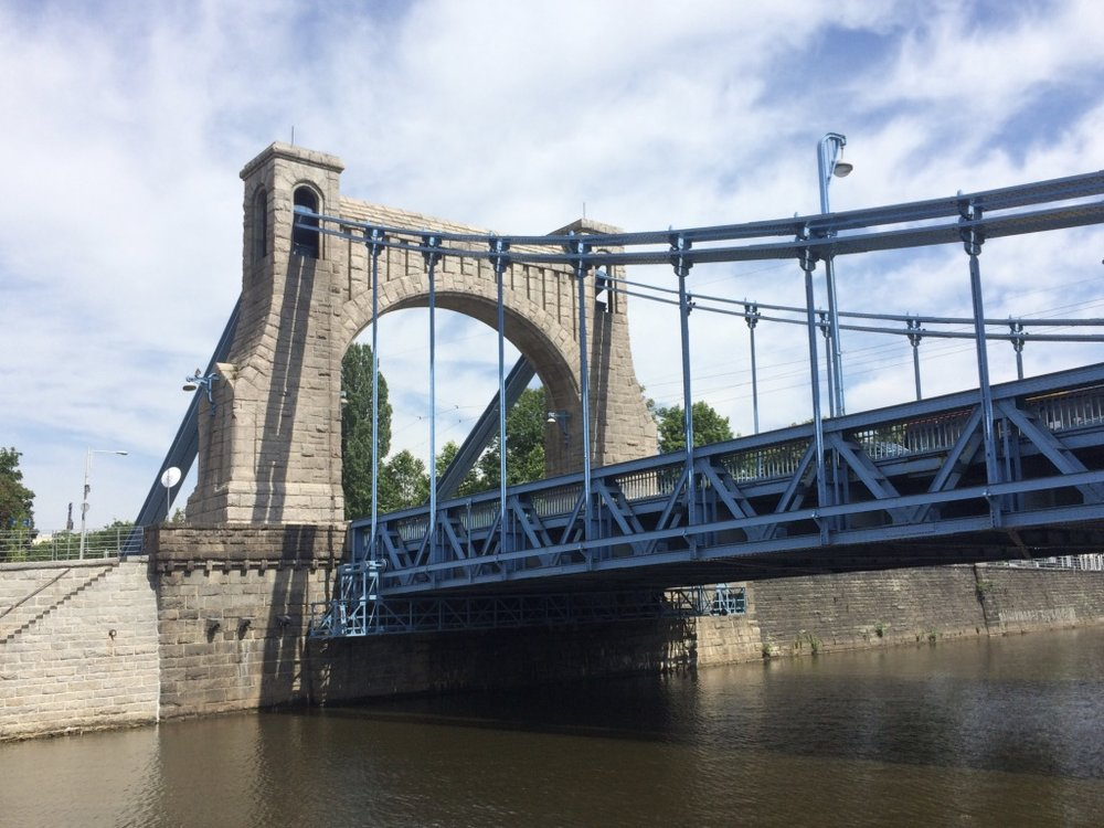 Wroclaw, Poland - suspension bridge build at the beginning of 20 century