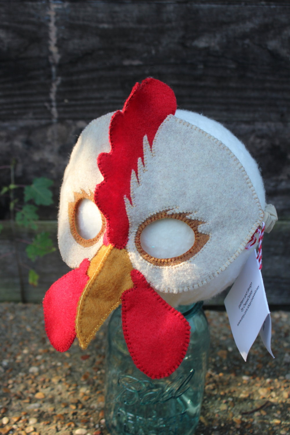 Chicken Mask, sewn by me, pattern by Oxeyedaisy at https://www.etsy.com/shop/oxeyedaisey