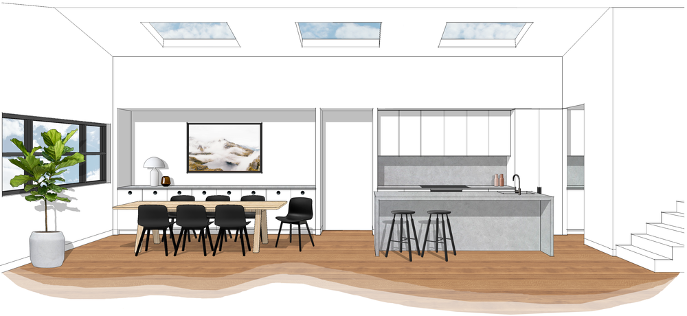 Concept Interior Design - Kitchen and Dining 3D Image, Harrison Residence. LO Design Studio Canberra Interior Designer