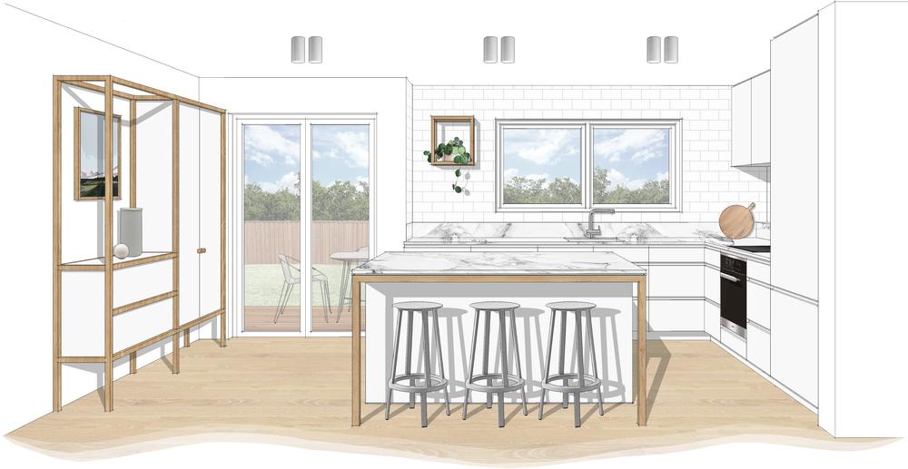 Kitchen Interior Design Concept 3D Image, Downer Residence, Canberra. LO Design Studio