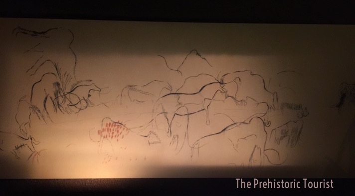 """A drawing of the """"black frieze"""" of pech merle in the site's museum"""
