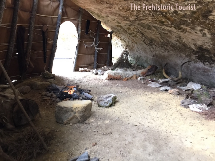 A recreation of a paleolithic rock shelter dwelling at the Abri Cro-Magnon. It is quite cozy.