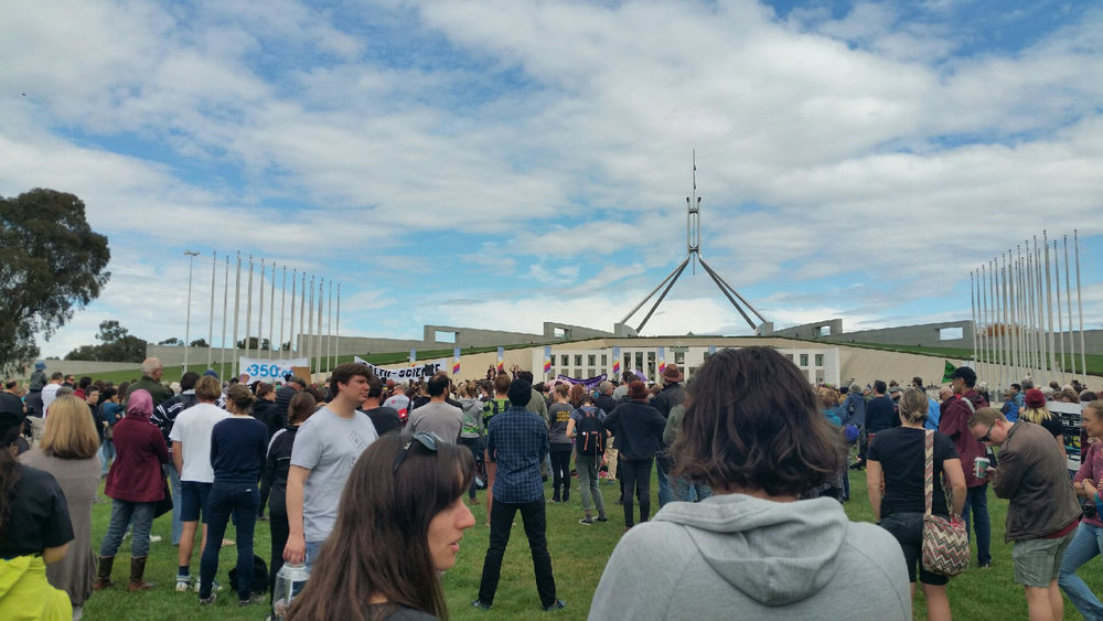 March for Science Canberra crowd in front of Parliament House. (Photo: Richert Ahlers)