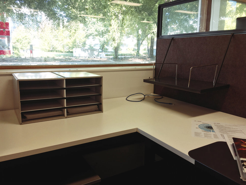 I was lucky to get a window desk in the PhD office.