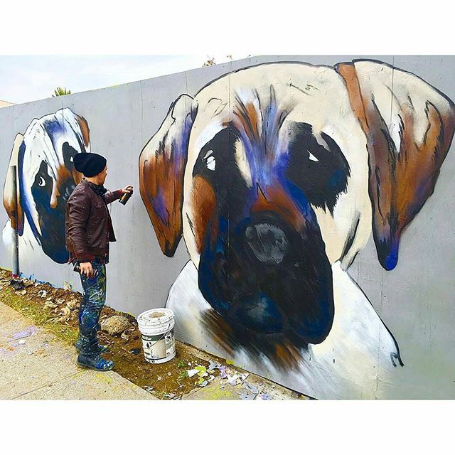 Repost from @frugalmcdougall -  I guess my dogs are kind of a big deal because they oddly resemble this bad ass mural by @shadowmonsterbear in Boyle Heights. #ShadowMonsterBear #LosAngeles #StreetArt #Muralist #Doggies