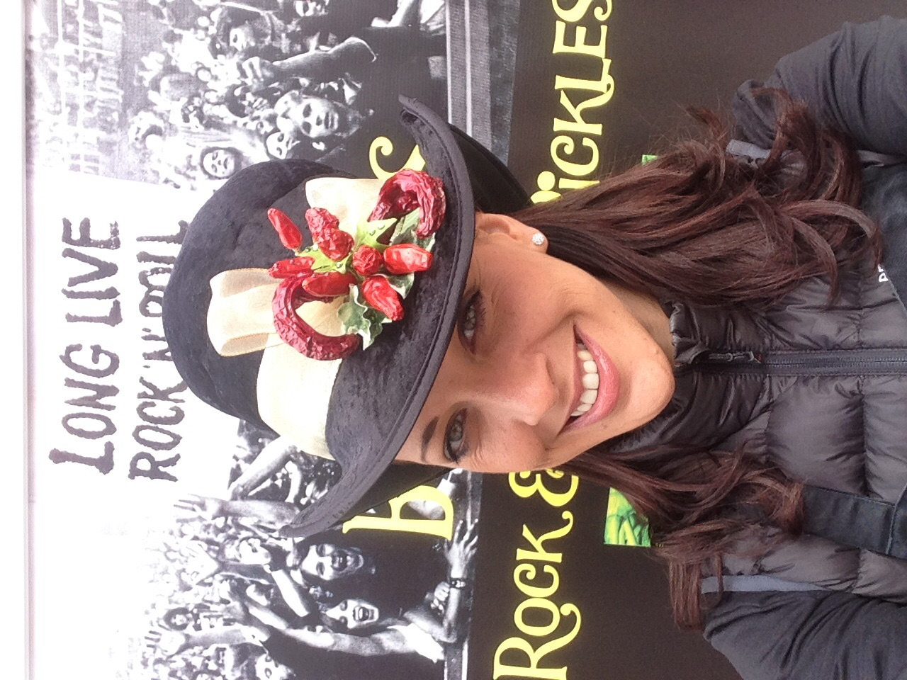 Debs sporting her famous Bongo's Rock & Roll Chilli Hat Made by mum Bee!