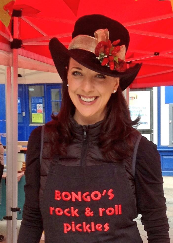 Mrs Bongo selling Bongo's Rock & Roll Pickles