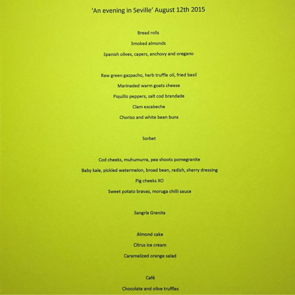 "The menu for ""an Evening In Seville"""