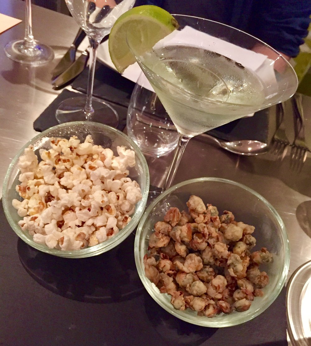Ginger & Lime Gin Martini served with Salt & Vinegar Cockle Popcorn