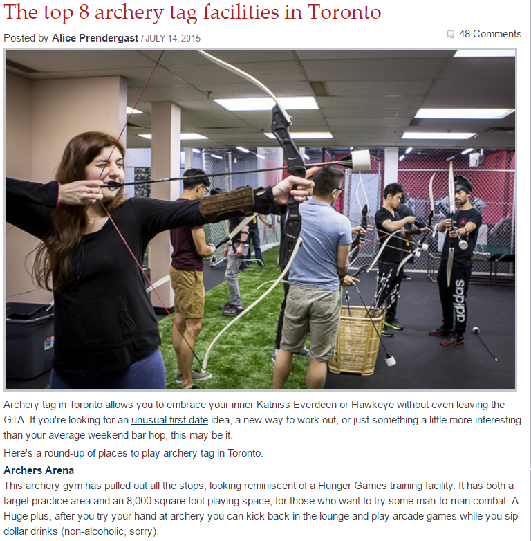 COME PLAY AT THE TOP RATED COMBAT ARCHERY ARENA IN TORONTO!