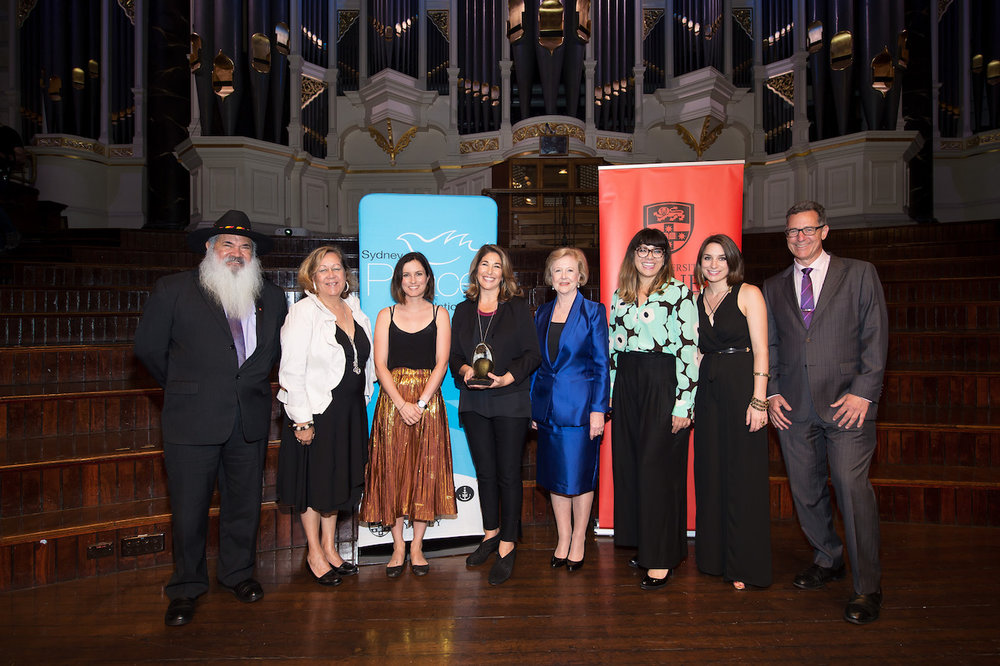 Senator Patrick Dodson, Norma Ingram, Missy Higgins, Naomi Klein, Professor Gillian Triggs, Councillor Jess Scully, Sydney Peace Foundation director Lisa Fennis and chair David Hirsch.