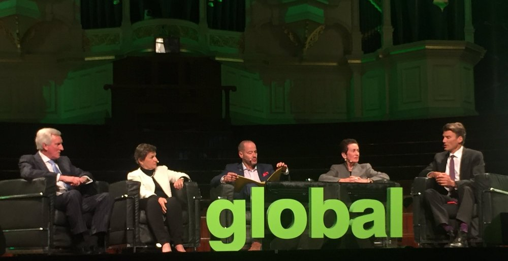The full panel, John Hewson, Christiana Figueres, Adam Spencer, Lord Mayor Clover Moore and Mayor Gregor Robertson