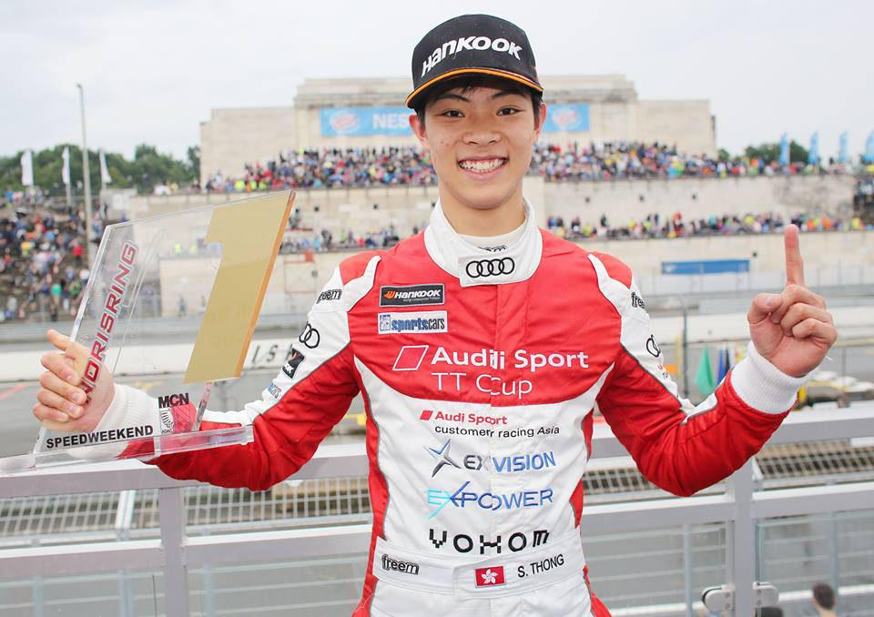 Shaun with his first Audi TT Cup victory at the Norisring