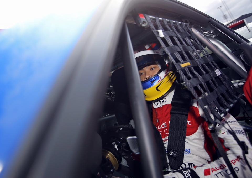 Shaun fully focus to start the race at Nurburgring in the Audi TT Cup race