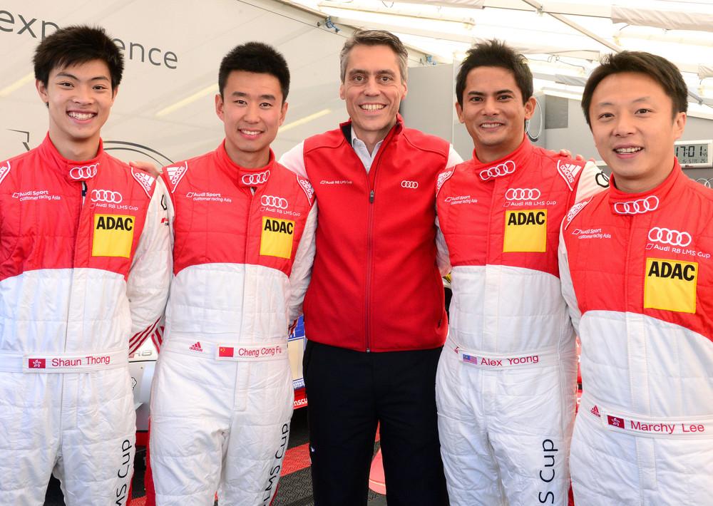"Shaun Thong, ""Franky"" Cheng Cong Fu, Rene Koneberg (Head of Audi Sport Customer Racing Asia), Alex Yoong and Marchy Lee"