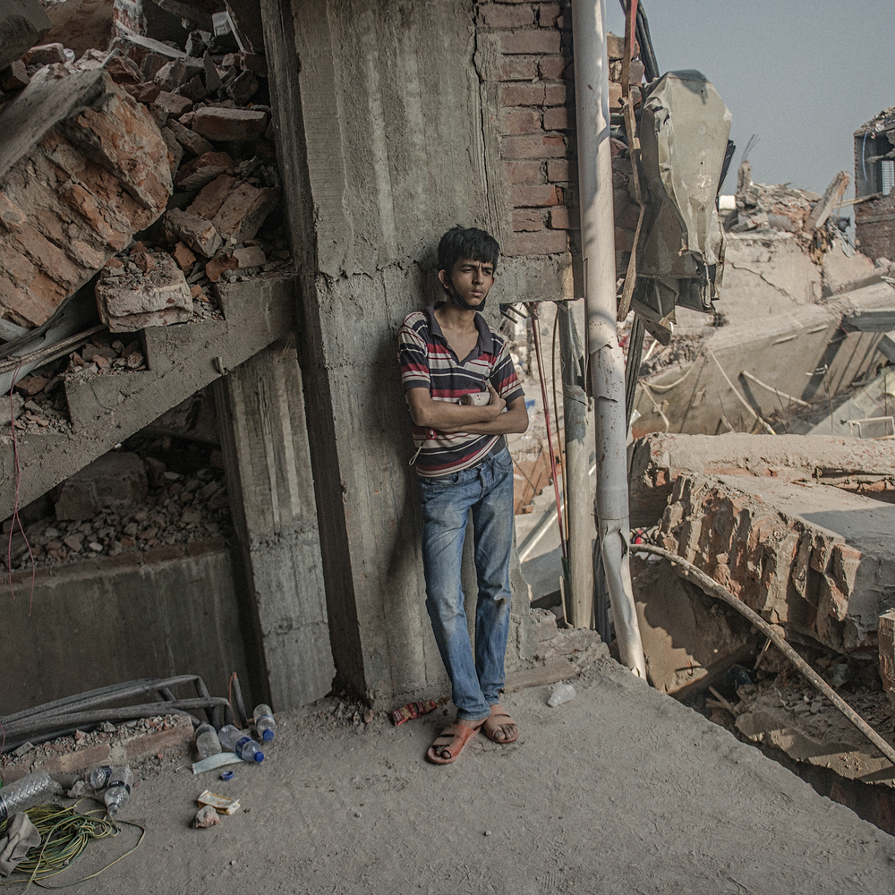 Monir Hossain Tushar, 16 at the time, rushed to the Rana Plaza site to work as a volunteer on rescue operations after the collapse