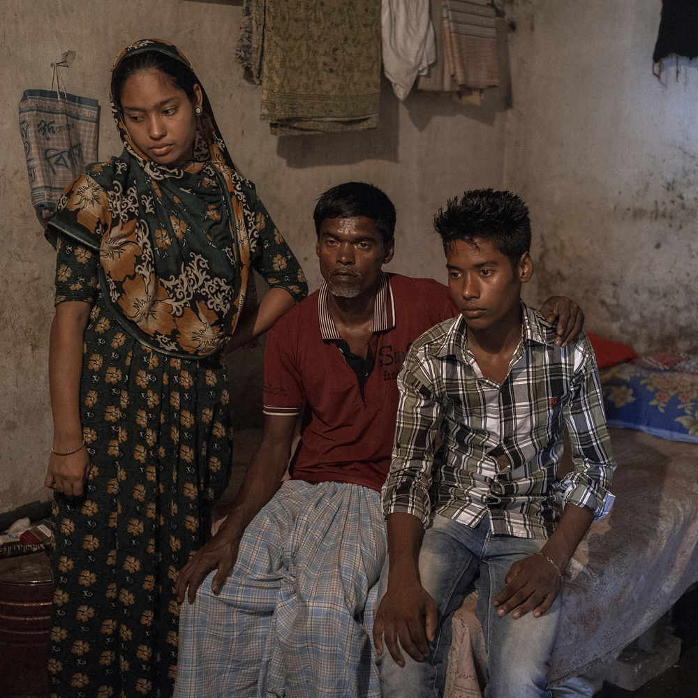 Jahidul now lives with his new wife Mahmuda and his son Jakir in their old house.