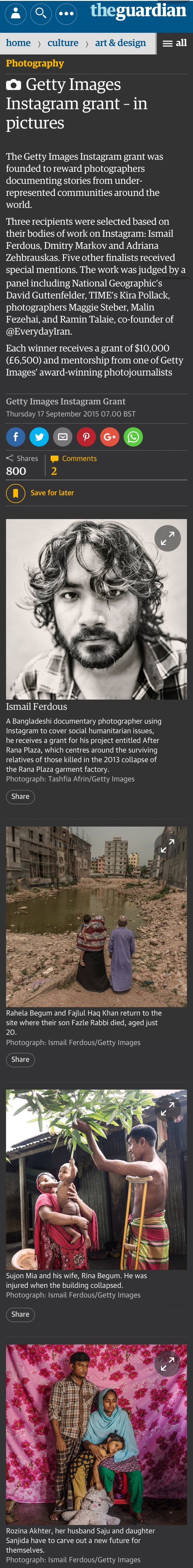 Getty Images Instagram grant – in pictures