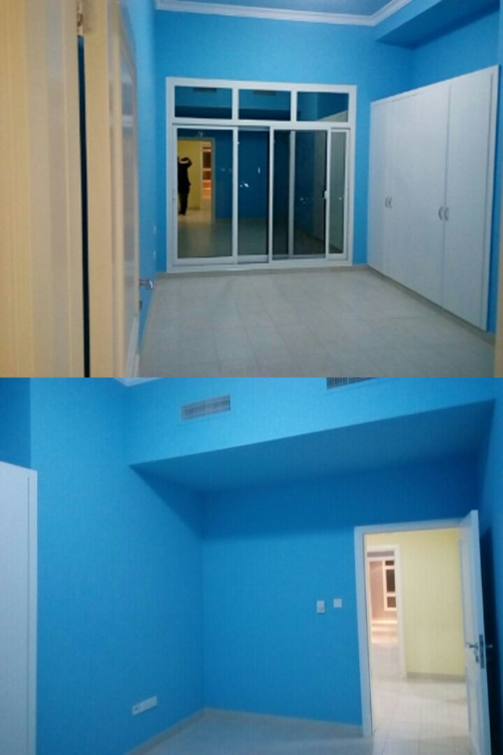 Playroom – Ceiling: Turquoise Haze; Trim: white;   Walls: BM Cayman Blue