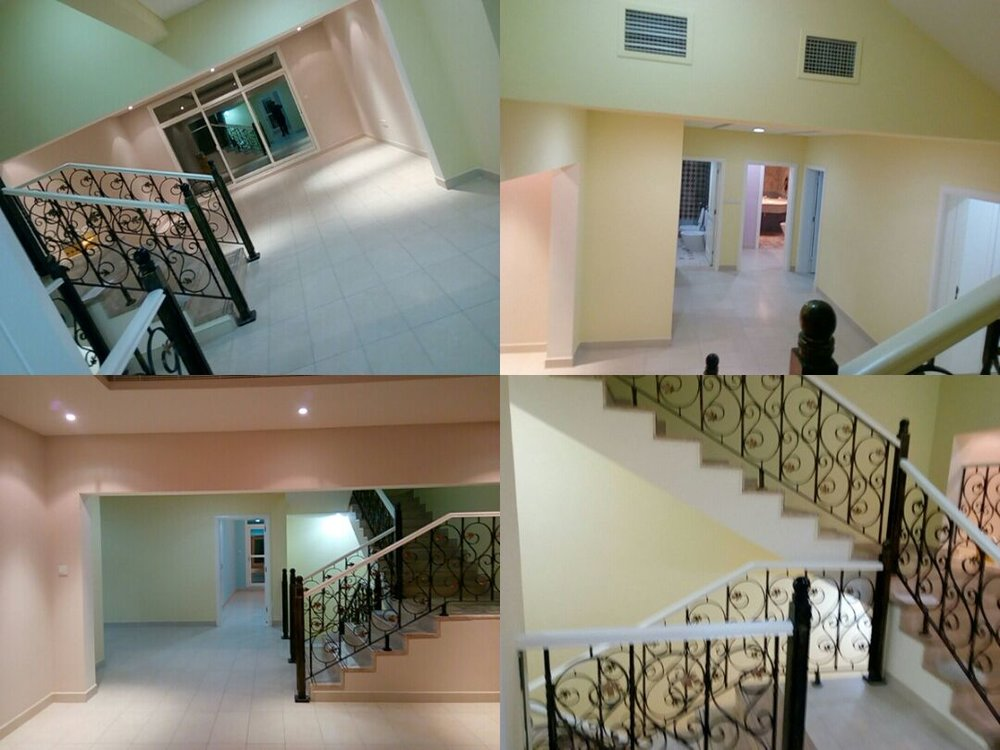 Top and bottom left     :    Open TV space; Walls: BM Bayshore Beige  |  Top right:  First Storey Corridor; Walls: BM San Pedro Morning|  Bottom right :  Stairway: Ceilings, Railings and staircase sidewalls: BM Sugar Cookie