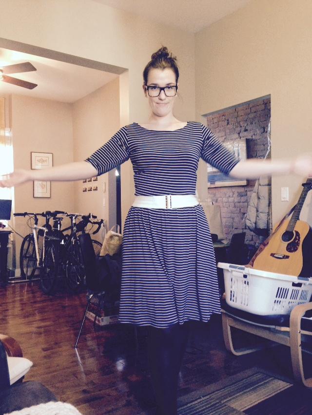 Moneta Dress from Collette Patterns in bamboo knit.   I know it looks like I have no legs in this picture.